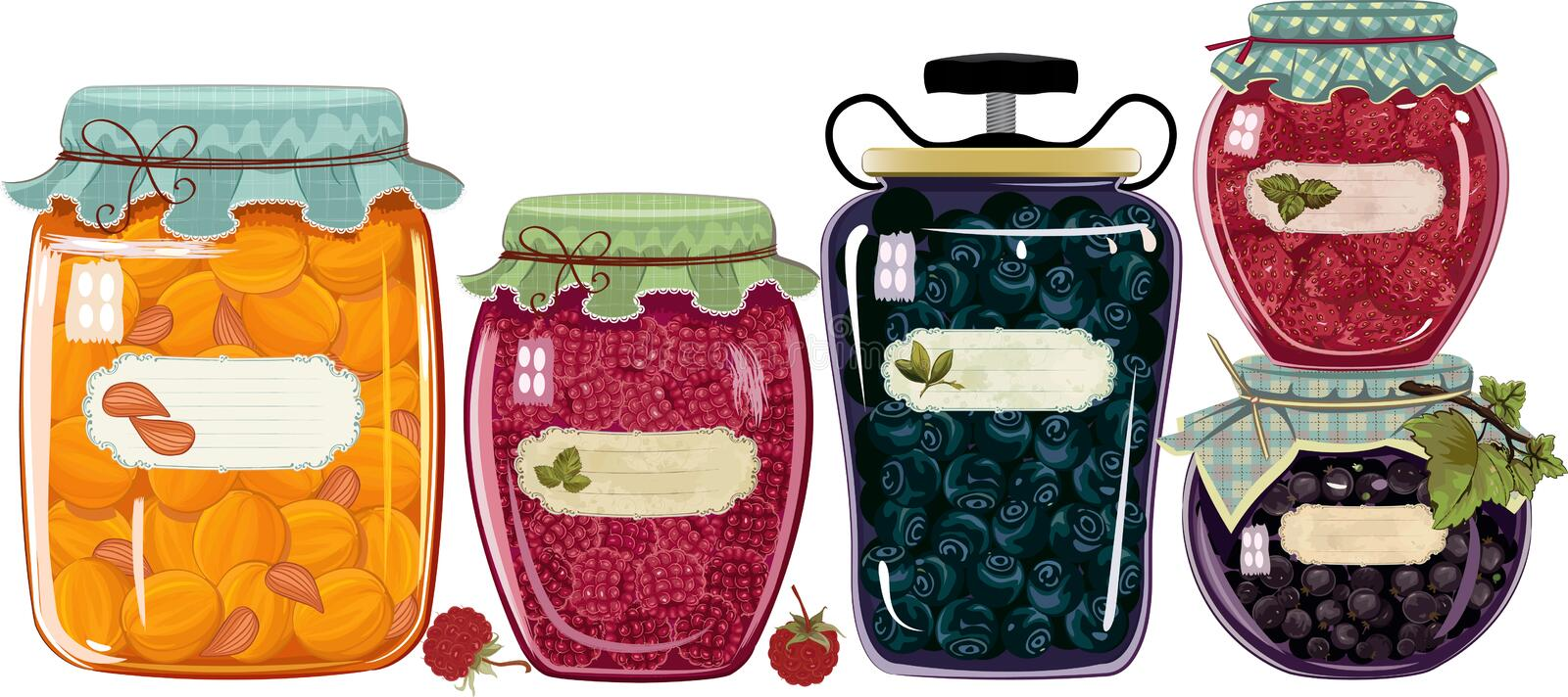 Cans with jam vector illustration