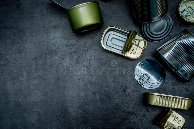 Cans. Metal waste. Place for text. Recycling royalty free stock photography
