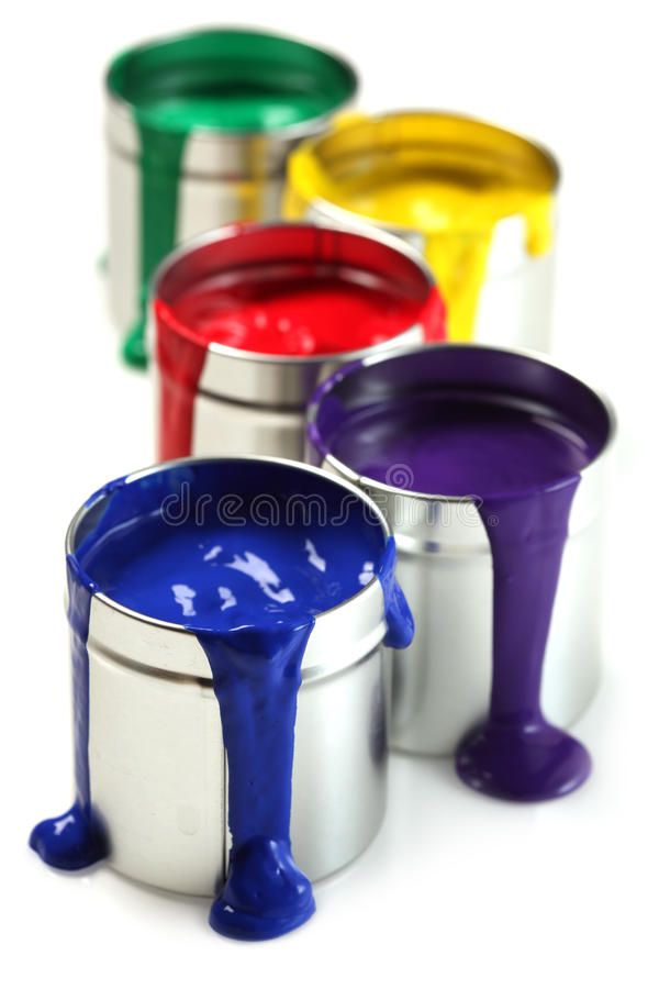 Cans of paint. With different colors