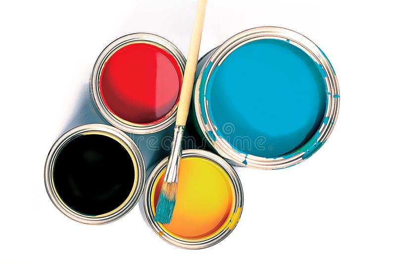 Cans of paint and brush. Time to paint stock photo