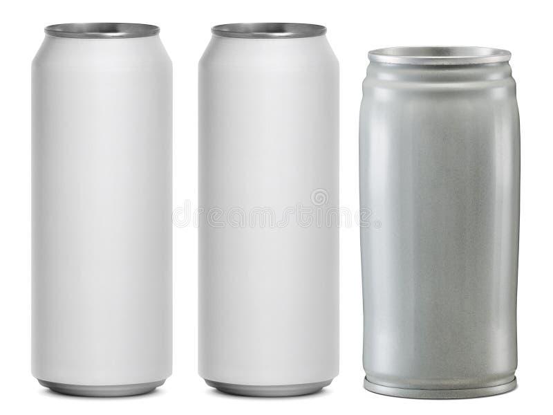 Cans som isoleras på en vit bakgrund royaltyfri bild
