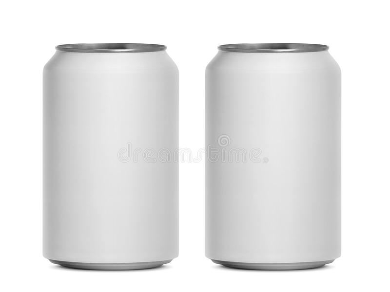 Cans som isoleras på en vit bakgrund arkivbilder