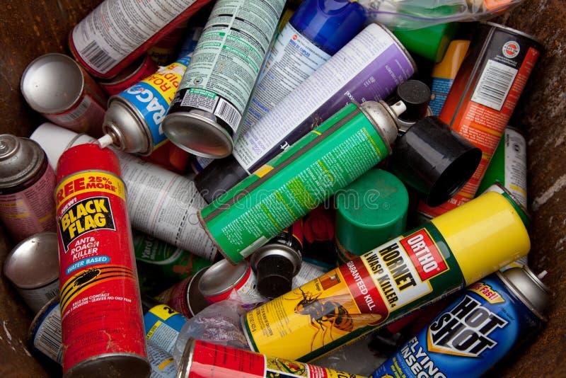Cans spray stock photos