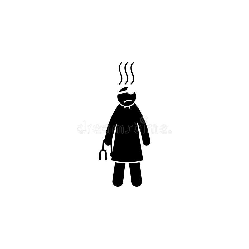 cansado, ícone do doutor Elemento do ícone de segunda-feira do cyber para apps móveis do conceito e da Web O estilo cansado, ícon ilustração stock