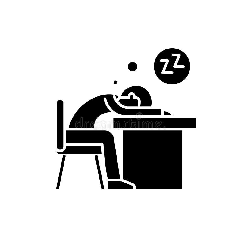 Cansado en el icono negro del trabajo, muestra del vector en fondo aislado Cansado en el símbolo del concepto del trabajo, ejempl libre illustration
