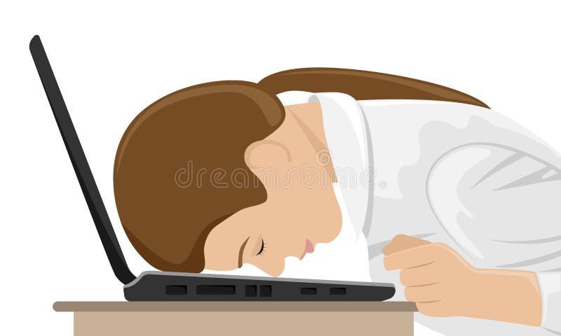 Cansado en el trabajo, la muchacha se cayó de cabeza sobre el ordenador portátil stock de ilustración