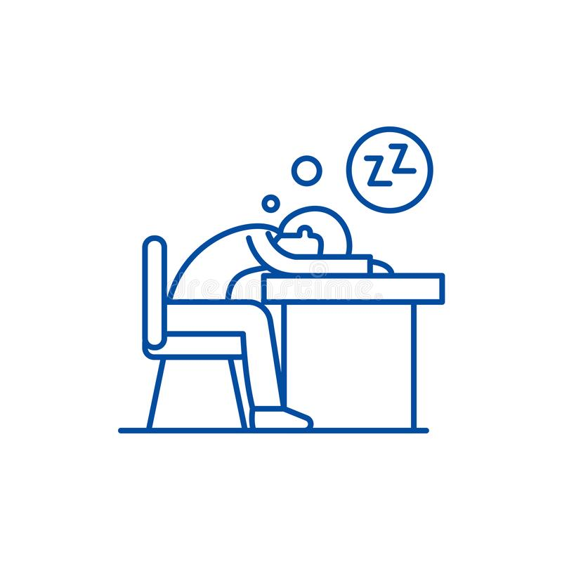 Cansado en la línea concepto del trabajo del icono Cansado en el símbolo plano del vector del trabajo, muestra, ejemplo del esque ilustración del vector