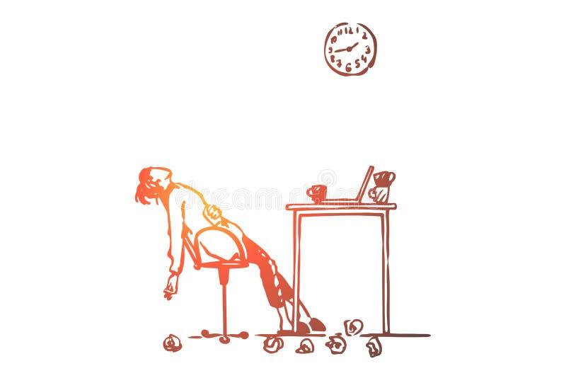 Cansado, freelancer, mujer, trabajo excesivo, concepto del plazo Vector aislado dibujado mano ilustración del vector