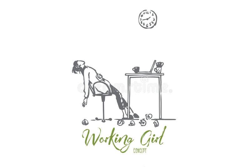 Cansado, freelancer, mujer, trabajo excesivo, concepto del plazo Vector aislado dibujado mano stock de ilustración