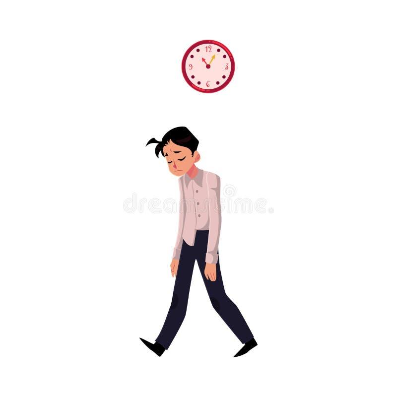 Cansado novo, virada, homem de negócios esgotado que sente uma confusão, pés de arrasto ilustração stock