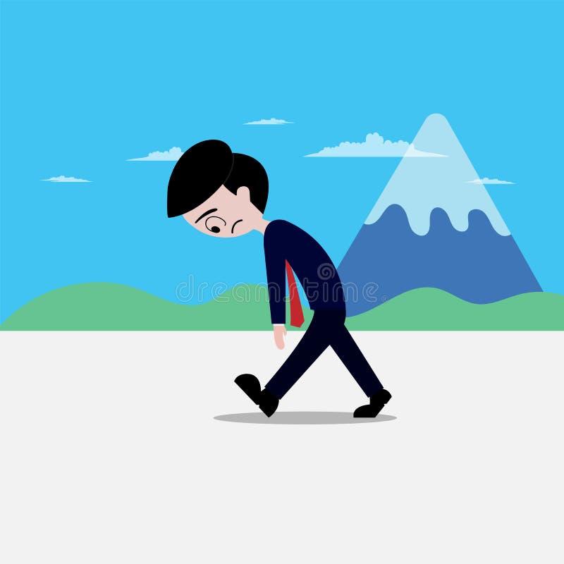 Cansado cansado triste del paseo del hombre de negocios con el fondo de la montaña stock de ilustración