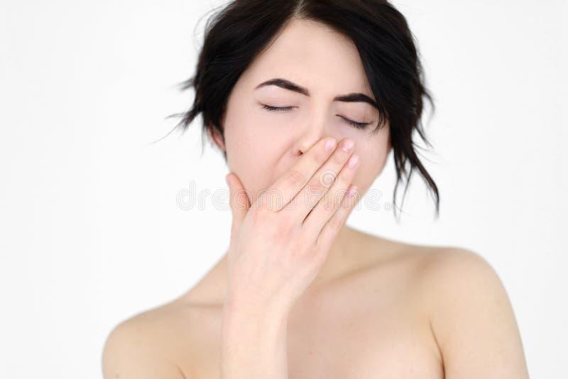 Cansancio cansado cara de la privación del sueño de la mujer de la emoción foto de archivo libre de regalías
