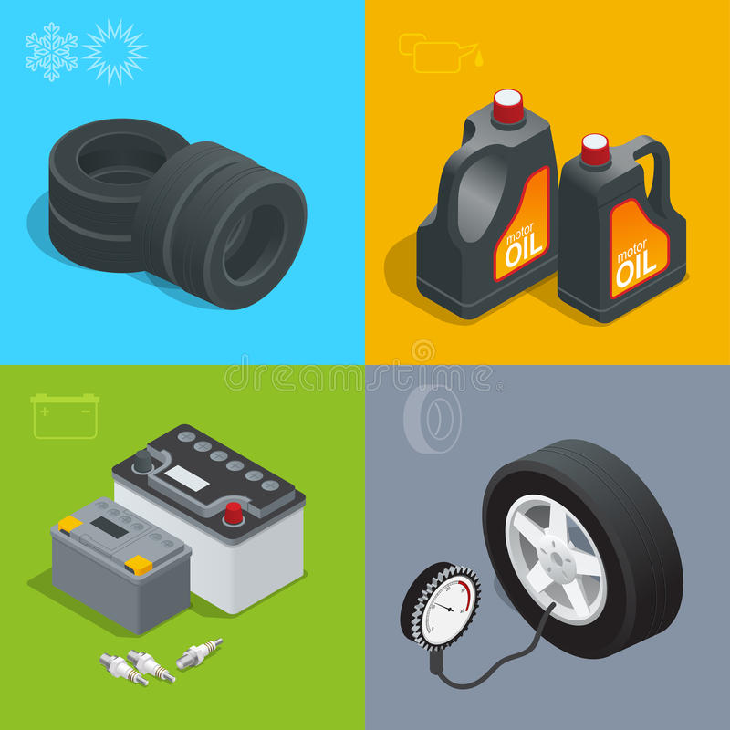 Canse el auto del coche del servicio, repare el ejemplo isométrico del vector determinado del plano de los iconos Materiales cons stock de ilustración