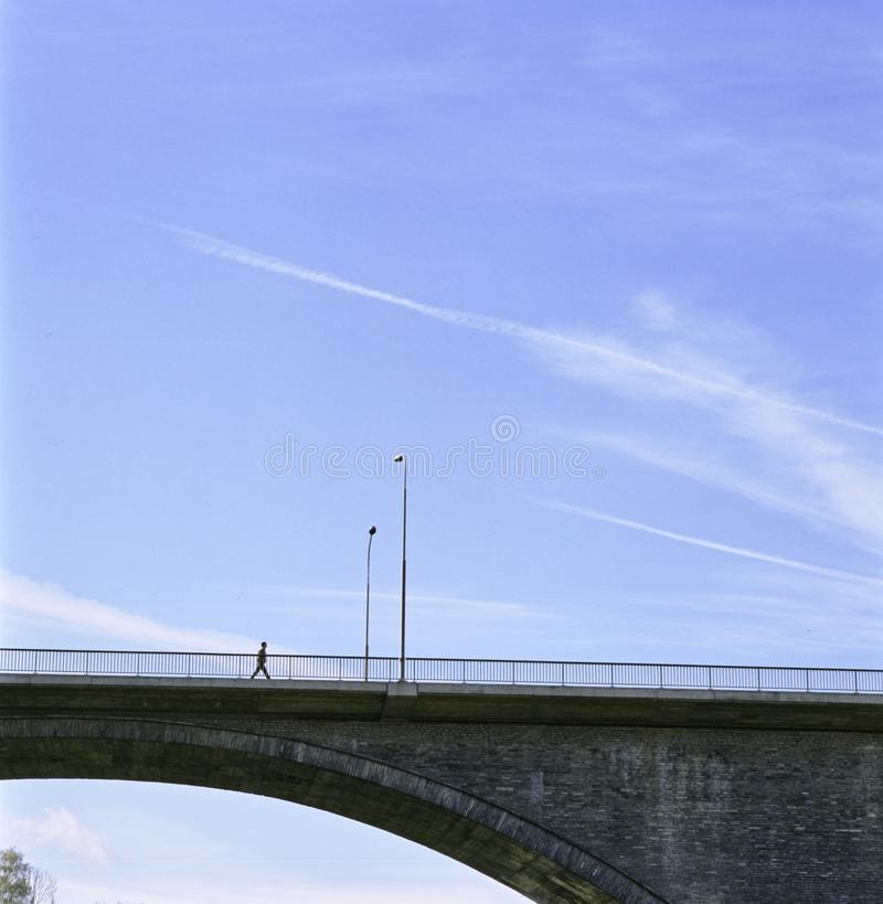 Cantón suizo Baden High Bridge del informe de Argovia sobre el río de Limmat fotos de archivo libres de regalías