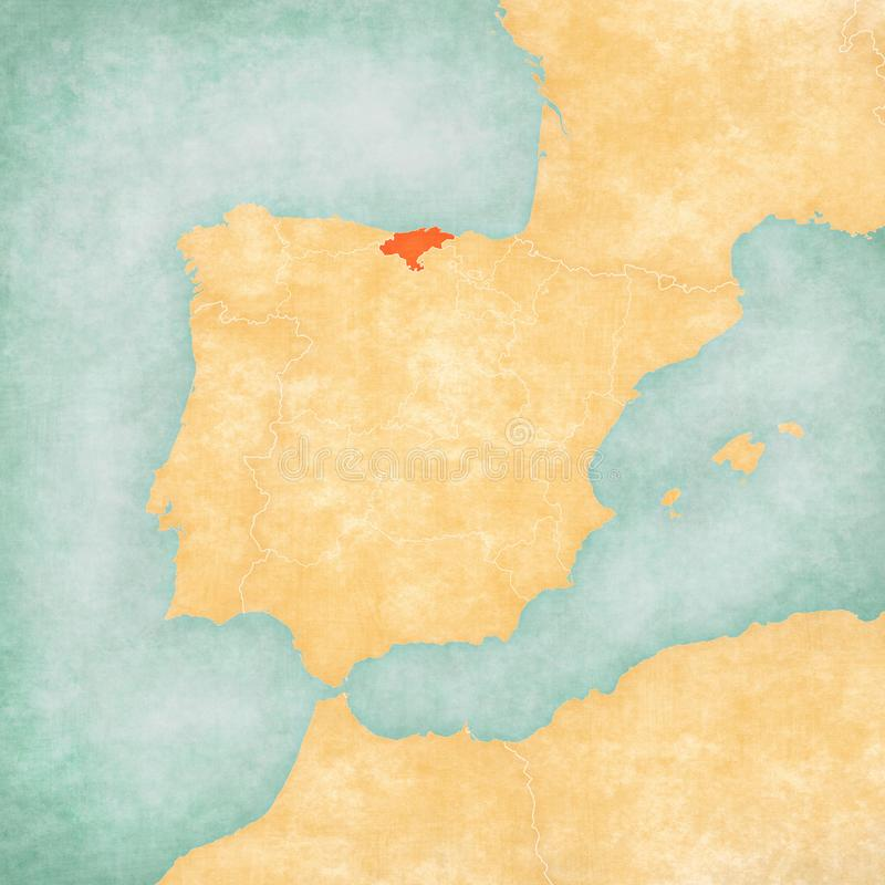 Map of Iberian Peninsula - Cantabria. Cantabria on the map of Iberian Peninsula in soft grunge and vintage style on old paper royalty free illustration