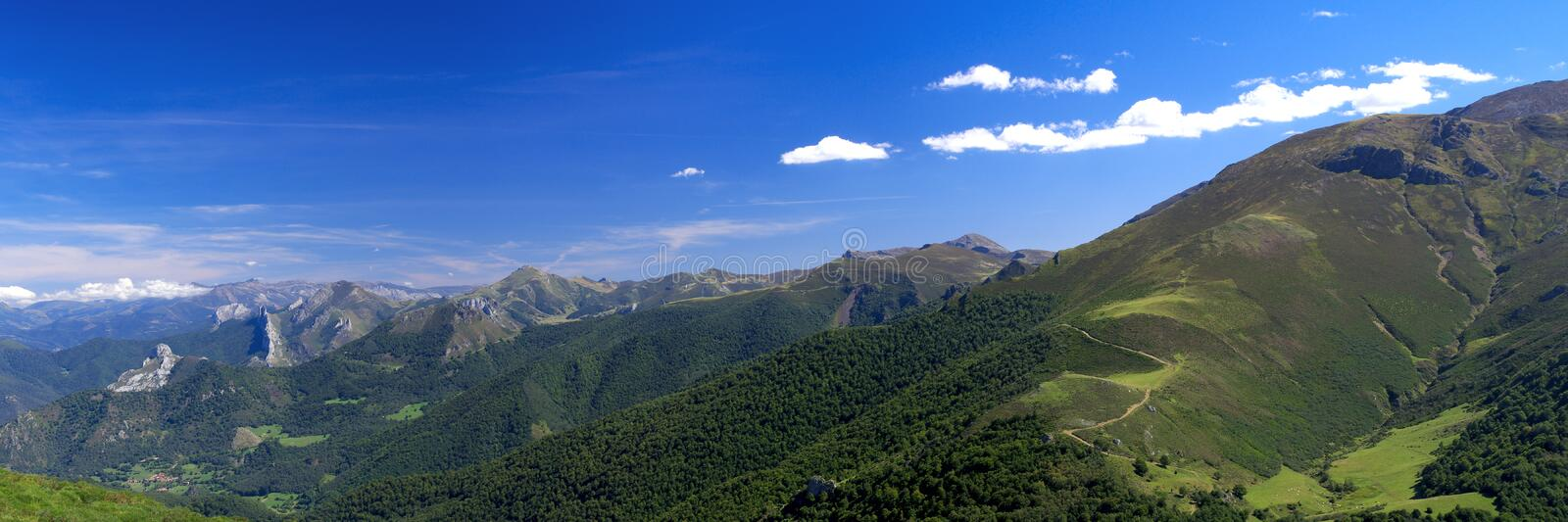 Cantabrian Mountains. Panoramic view of Cantabrian Mountains, Asturias. Spain royalty free stock image
