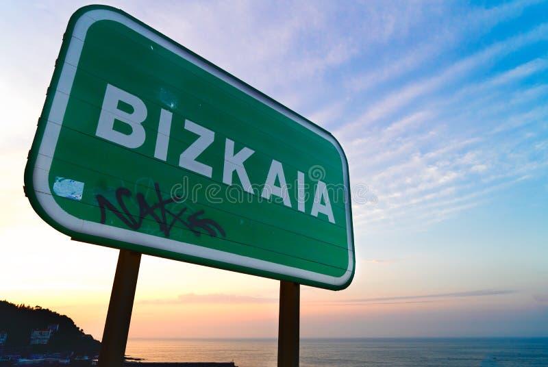 Cantabrian Sea coast. Cantabrian Sea, Bizkaia road sign, Pais Vasco Spain royalty free stock photography