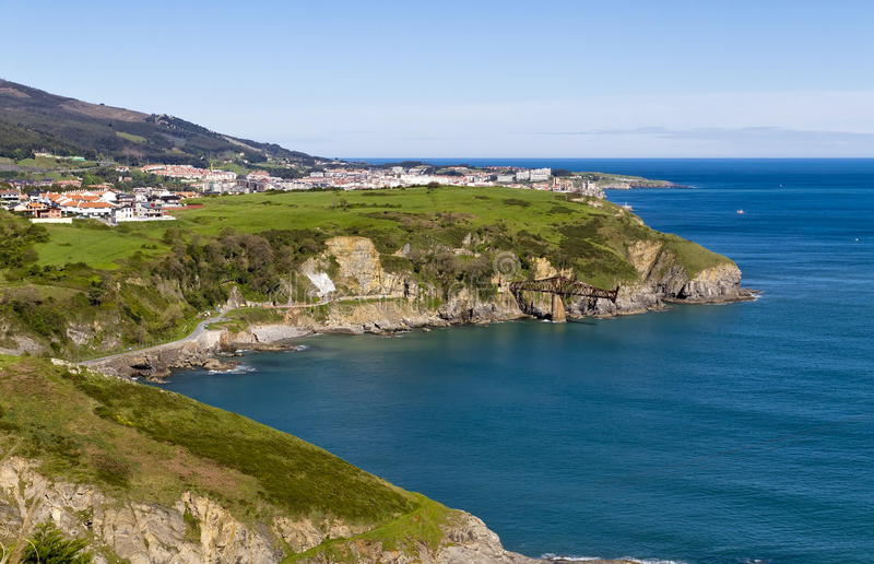 Cantabrian Sea coast. In the background Castro Urdiales royalty free stock photo