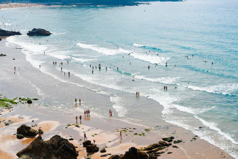 Cantabrian Sea coast. Beach of Bakio, Pais Vasco Spain royalty free stock photos