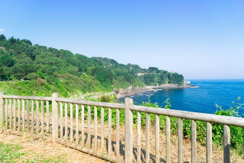 Cantabrian Sea coast. Cantabrian Sea green coast scene, Pais Vasco Spain royalty free stock image