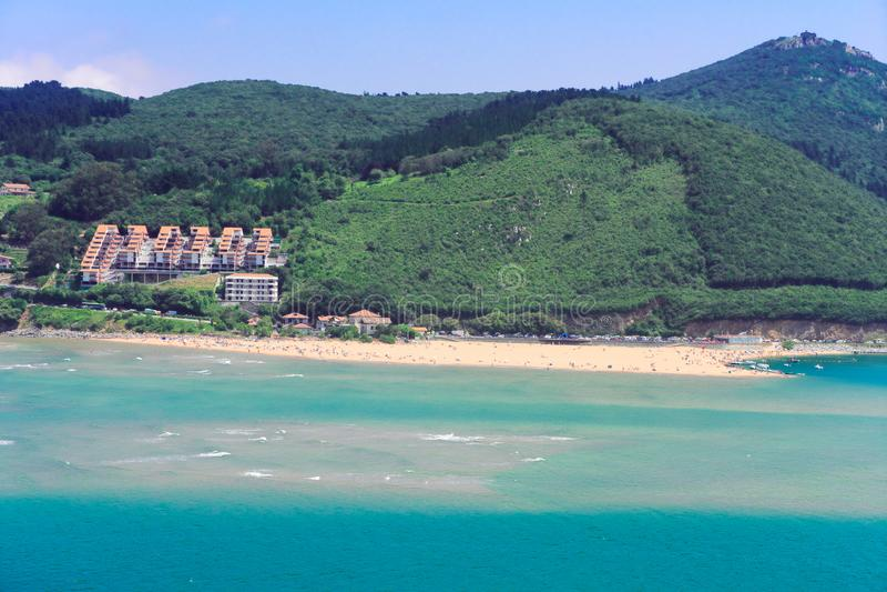 Cantabrian Sea coast. Cantabrian Sea green coast summer scene, Pais Vasco Spain stock photos