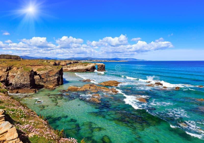 Cantabric coast summer sunshine landscape. stock photo