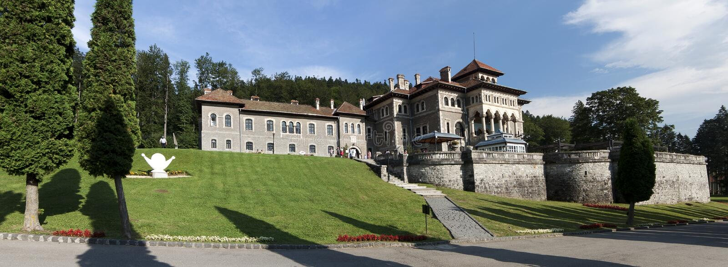 Cantacuzino Castle. In Busteni Romania built in Neo Romanian style stock photos