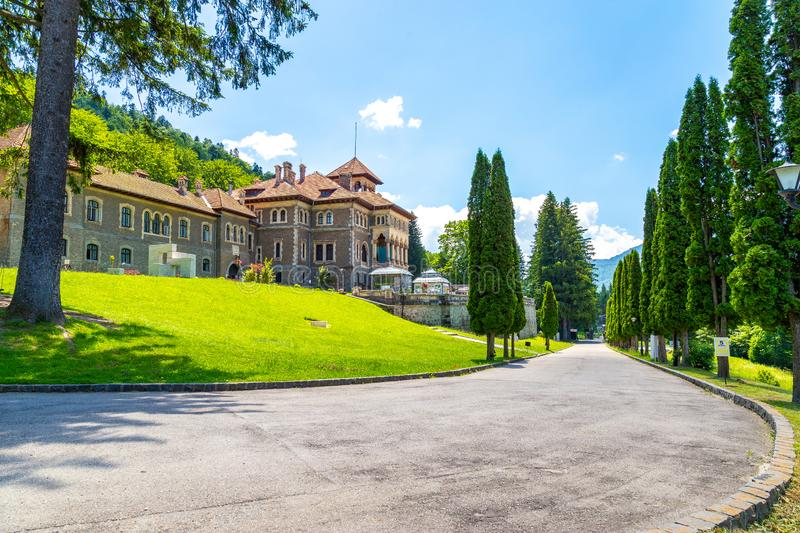 Cantacuzino castle entrance. Located in Busteni, Romania, Eastern Europe royalty free stock images