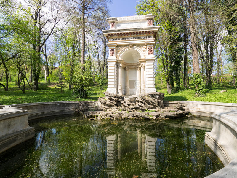 Cantacuzino Fountain in Bucharest. The Cantacuzino fountain in Carol Park, Bucharest, was built in 1870 at the expense of former Bucharest`s mayor, George royalty free stock photography