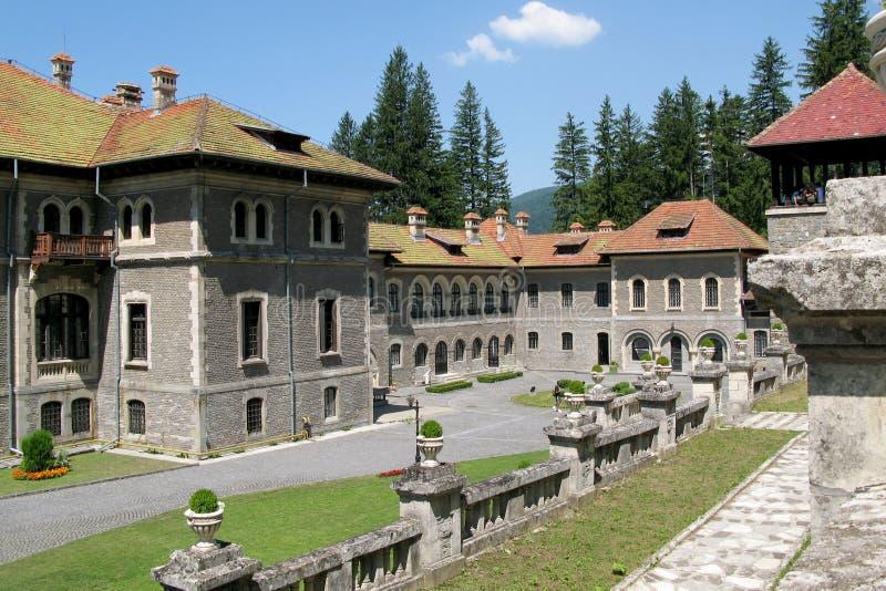 Cantacuzino Palace courtyard. Busteni, Romania stock image
