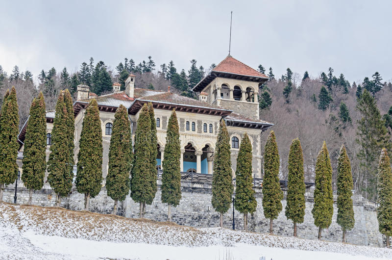 The Cantacuzino Palace Palatul Cantacuzino from Busteni. Romania, winter time with snow and ice stock photo