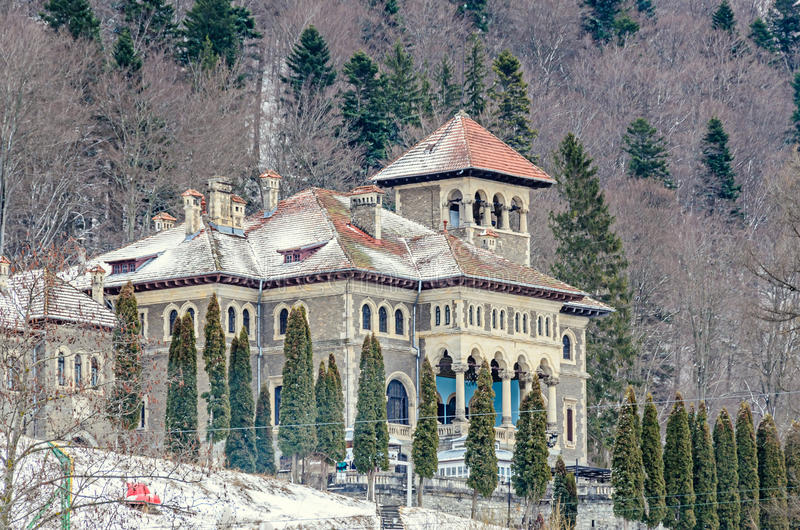The Cantacuzino Palace Palatul Cantacuzino from Busteni. Romania, winter time with snow and ice royalty free stock photography