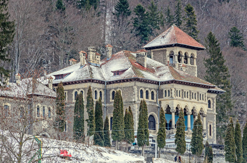 The Cantacuzino Palace Palatul Cantacuzino from Busteni. Romania, winter time with snow and ice stock photos