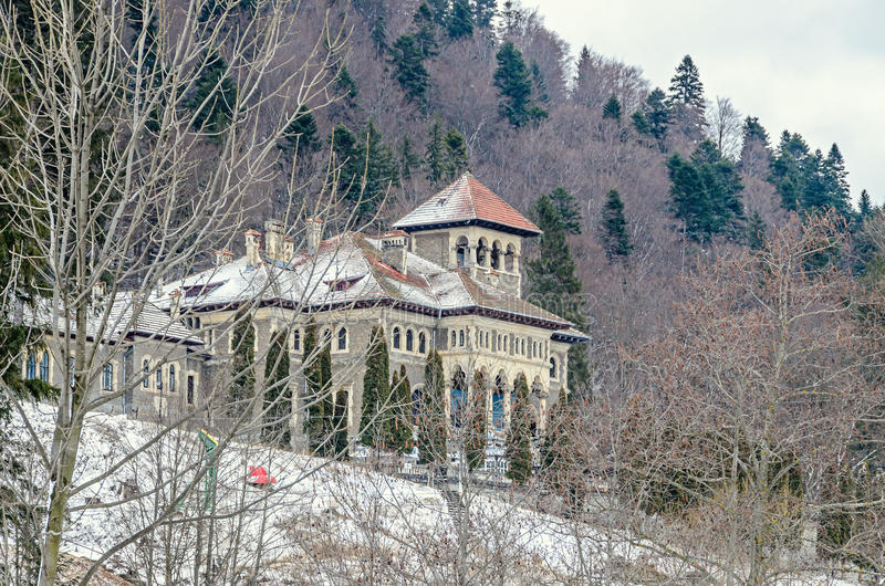 The Cantacuzino Palace Palatul Cantacuzino from Busteni. Romania, winter time with snow and ice royalty free stock photos