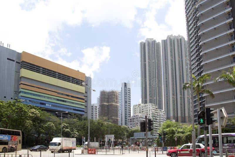 Cantado y calles muy transitadas en la ciudad Hong-Kong China foto de archivo
