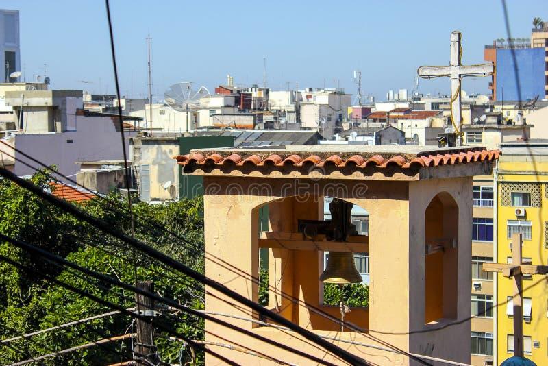 Cantagalo favela的风景 免版税图库摄影