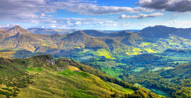The Cantalian Massif. Beautiful panorama of the peaks, plateaus and valleys in Auvergne (Cantal) in The Central Massif located in south-central France.This royalty free stock photography
