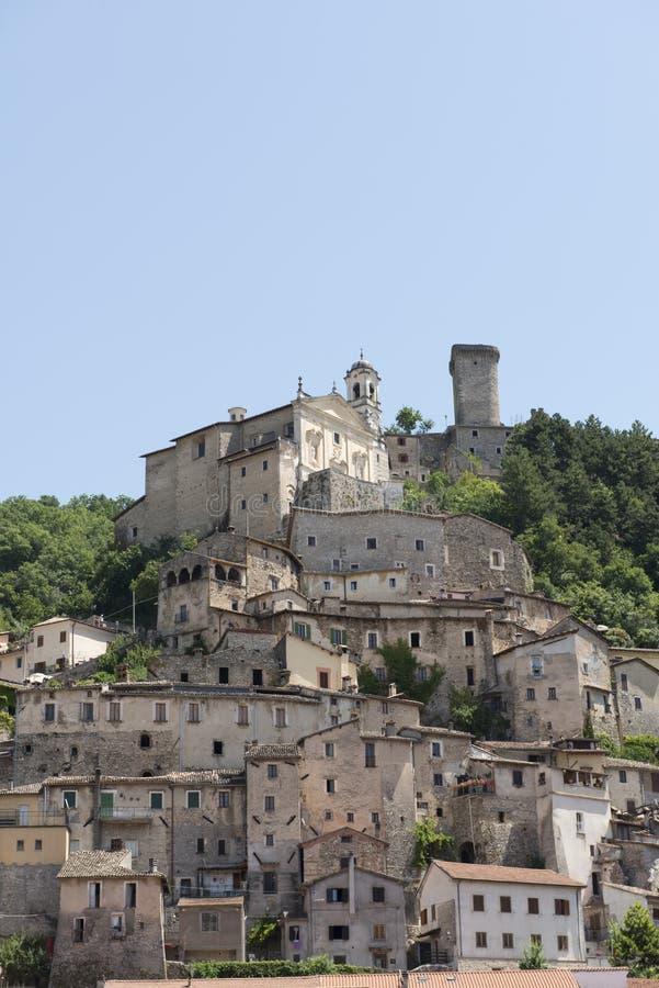 Cantalicekerk en oude gebouwen, Rieti stock fotografie