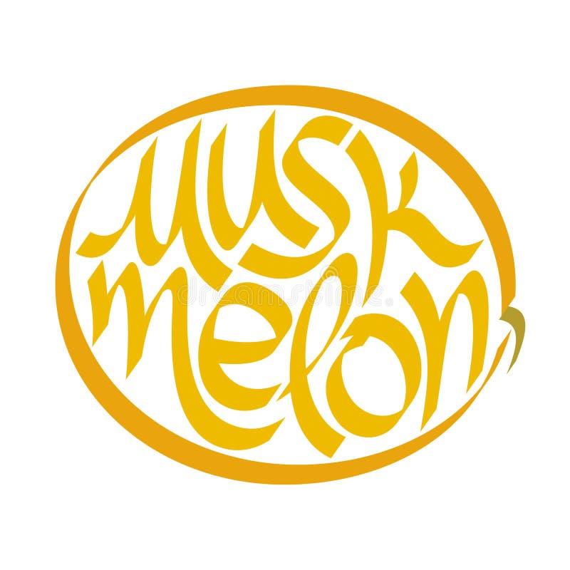 Cantaloup, melon, calligraphie de miellée, typographie Typographie de fruit illustration de vecteur