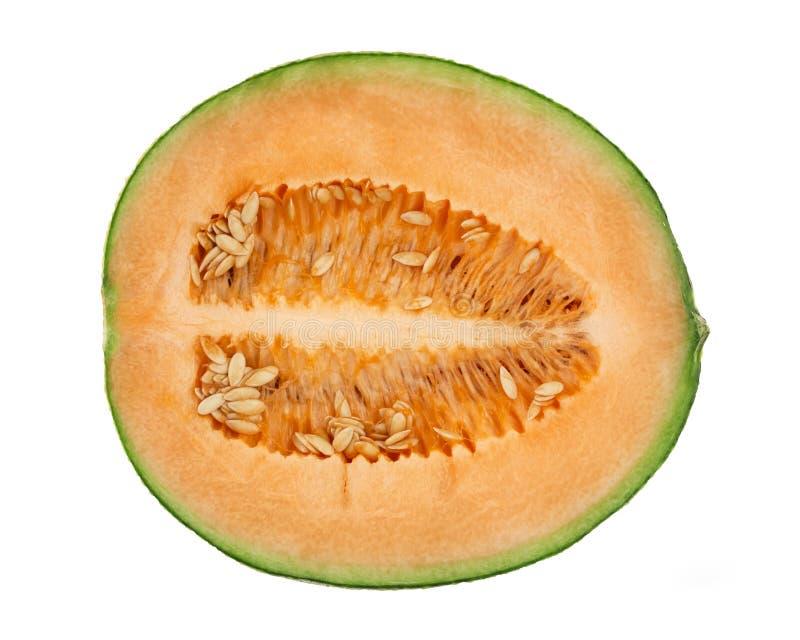 Cantaloupe. Fresh cut cantaloupe over white background royalty free stock photos