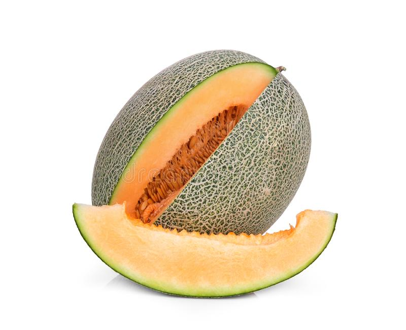 Cantaloupe melon isolated on white royalty free stock images