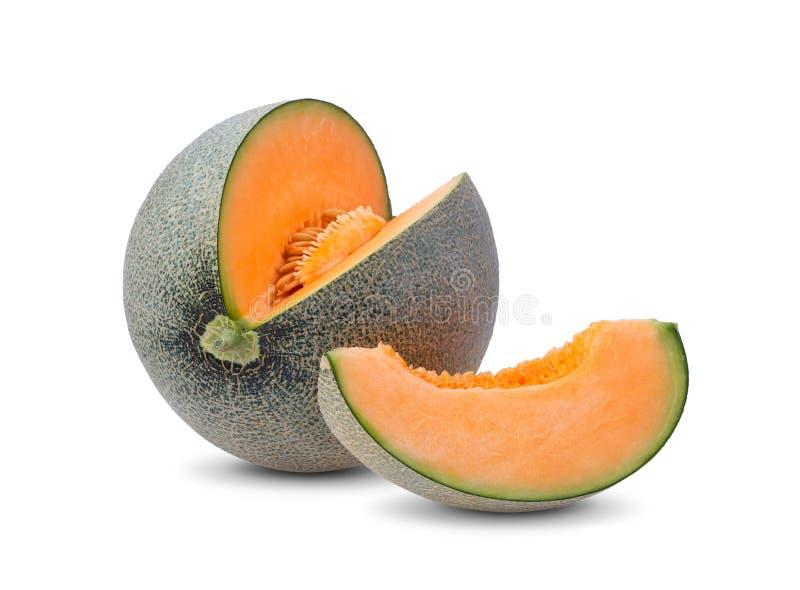 Cantaloupe melon slices on white background stock images