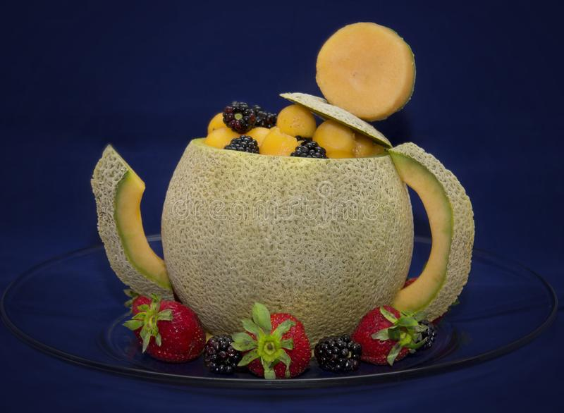 Cantaloupe Teapot royalty free stock photography