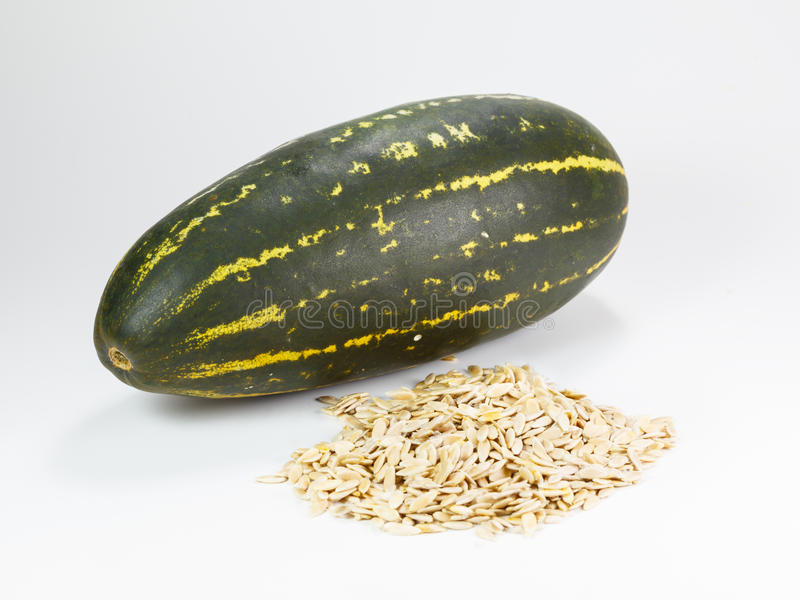 Cantaloupe, thailand melon. Cantaloupe. thailand melon and seeds on a white background royalty free stock image