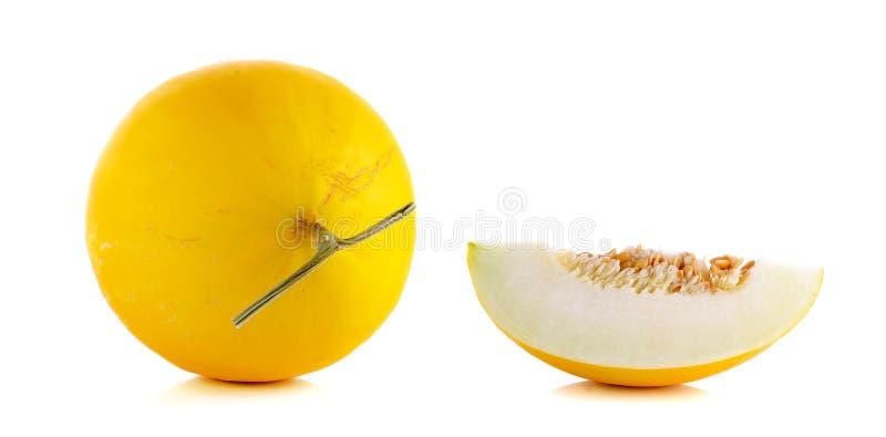 Cantalupo amarillo aislado en el fondo blanco imagen de archivo libre de regalías