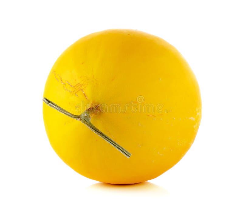 Cantalupo amarillo aislado en el fondo blanco imagen de archivo
