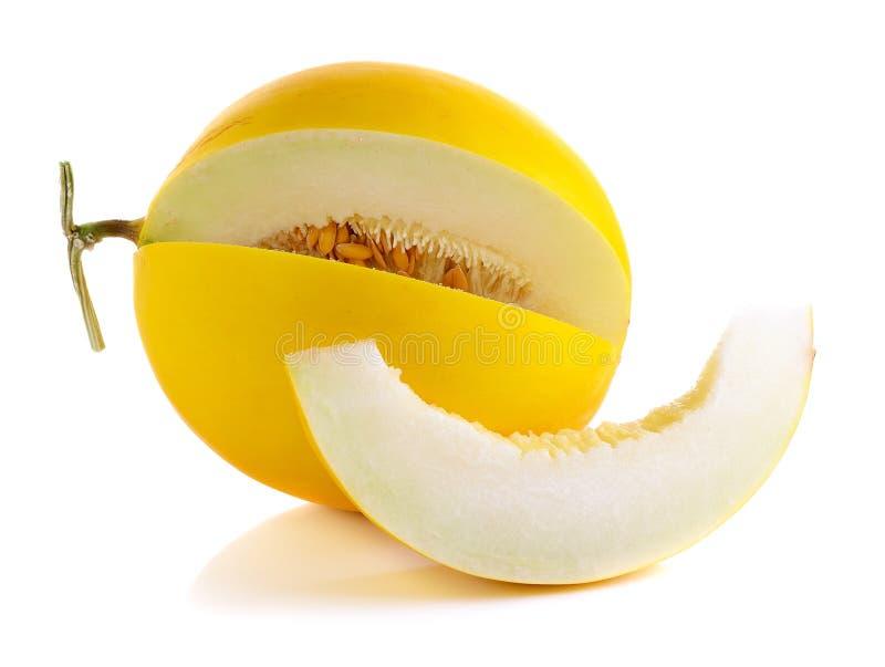 Cantalupo amarillo en el fondo blanco imagenes de archivo