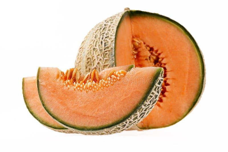 Cantalupo do melão isolado no fundo branco imagens de stock royalty free