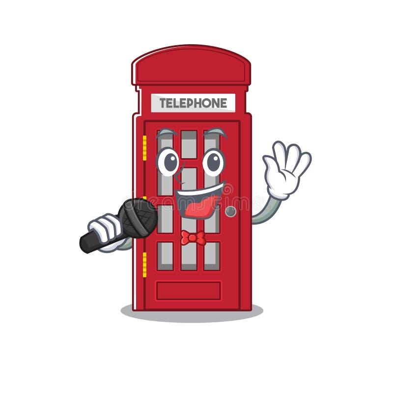 Cantando a cabine telefônica em miniatura acima da mesa de desenho ilustração stock