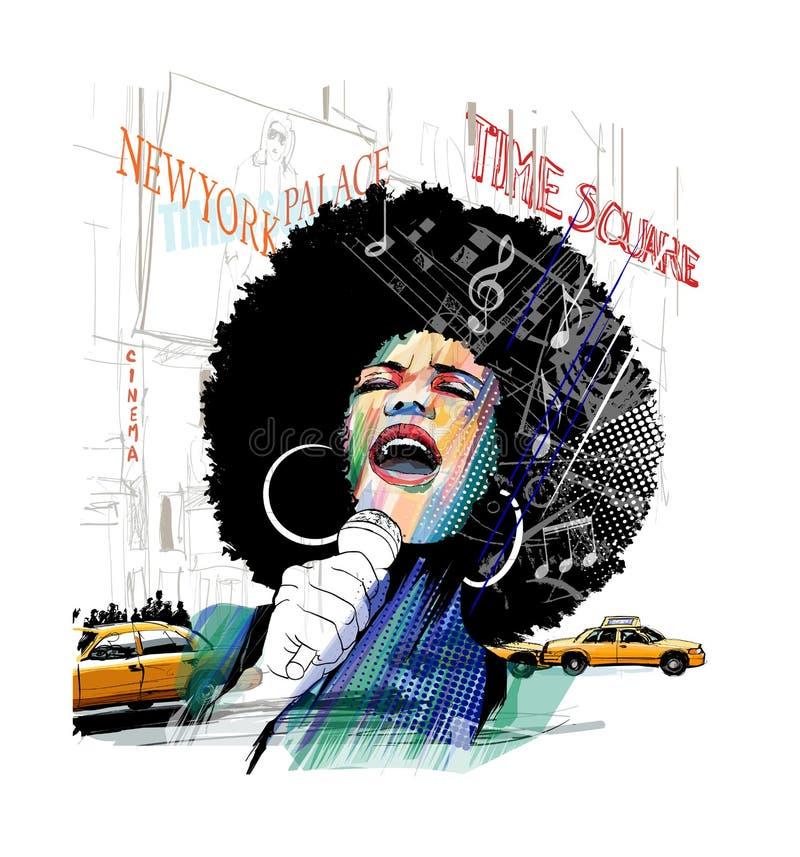 Cantante afroamericano del jazz en Nueva York ilustración del vector
